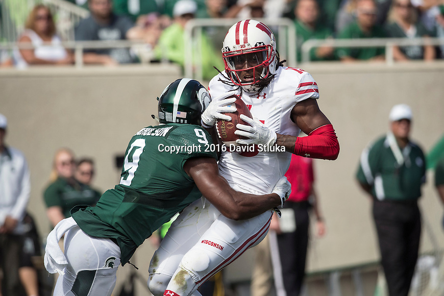 Wisconsin Badgers wide receiver Rob Wheelwright (15) catches a pass during an NCAA college football game against the Michigan State Spartans Saturday, September 24, 2016, in East Lansing, Michigan. The Badgers won 30-6. (Photo by David Stluka)