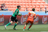 Houston, TX - Saturday May 27, 2017: Haley Kopmeyer stops a shot on goal in front of Amber Brooks (12) of the Houston Dash during a regular season National Women's Soccer League (NWSL) match between the Houston Dash and the Seattle Reign FC at BBVA Compass Stadium.