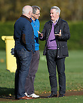 Rangers director Paul Murray and colleague Scott Murdoch watch training this morning