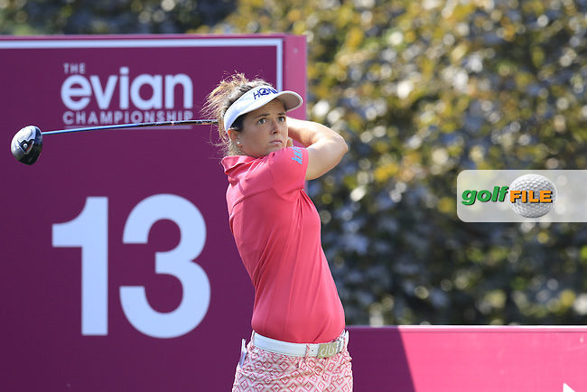 Joanna Klatten (FRA) tees off the 13th tee during Thursday's Round 1 of the LPGA 2015 Evian Championship, held at the Evian Resort Golf Club, Evian les Bains, France. 10/09/2015.<br /> Picture Eoin Clarke | Golffile