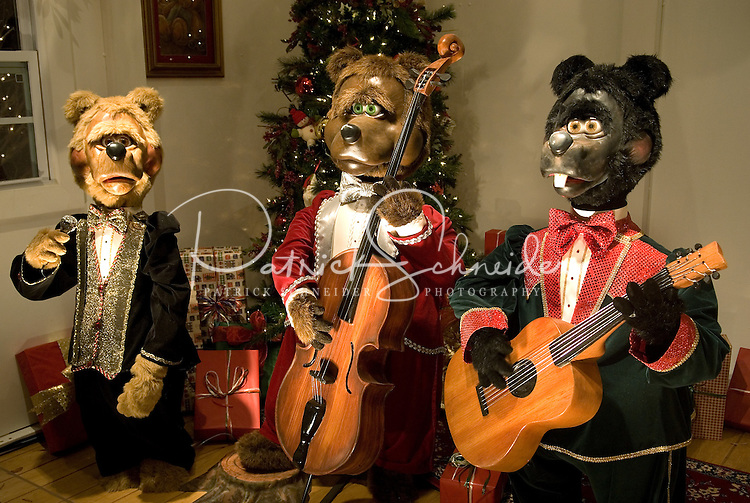 Mechanical bears sing during the annual Christmas tree lighting event at Birkdale Village in Huntersville, NC. Birkdale Village combines the best of shopping, dining, apartments and entertainment venues within a 52-acre mixed-use development.