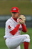 Pitcher Matt Kent (51) of the Greenville Drive warms up before a game against the Asheville Tourists on Thursday, April 7, 2016, at Fluor Field at the West End in Greenville, South Carolina. Greenville won, 4-3. (Tom Priddy/Four Seam Images)