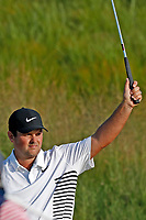 Patrick Reed (USA) reacts to making a birdie putt on the 18th hole during the second round of the 118th U.S. Open Championship at Shinnecock Hills Golf Club in Southampton, NY, USA. 15th June 2018.<br /> Picture: Golffile | Brian Spurlock<br /> <br /> <br /> All photo usage must carry mandatory copyright credit (&copy; Golffile | Brian Spurlock)