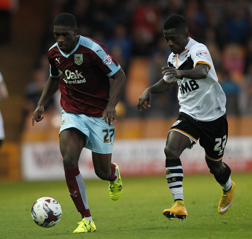 Burnley's Tendayi Darikwa battles with  Port Vale's Enoch Andoh<br /><br />Photographer Mick Walker/CameraSport<br /><br />Football - Capital One Cup First Round - Port Vale v Burnley - Tuesday 11th August 2015 - Vale Park - Burslem<br /> <br />&copy; CameraSport - 43 Linden Ave. Countesthorpe. Leicester. England. LE8 5PG - Tel: +44 (0) 116 277 4147 - admin@camerasport.com - www.camerasport.com
