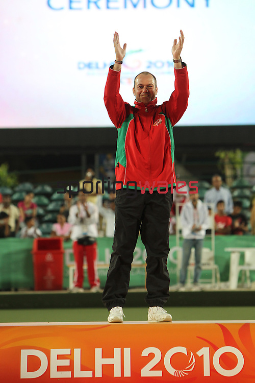 Delhi 2010 Commonwealth Games..Rob Weale (Wales) celebrates beating Australian Leif Selby to win the Gold medal in the final of the Mens singles .13.10.10.Photo Credit-Steve Pope-Sportingwales