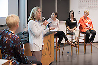 """Eileen Spain speaks.<br /> Marsha Schnirring, Chief of Administrative Affairs, hosts a discussion on """"How Oxy Works"""" featuring: Eileen Spain, Associate Dean, Academic Affairs; Tamara Himmelstein, Assistant Dean of Students; Michelle McMichael, Director of Campaign Communications; Elizabeth Kennedy, Interim Vice President, Institutional Advancement and Maricela Martinez, Associate Dean of Admission. The panel shared their perspectives on the interesting and dynamic work happening at Oxy. Alumni Reunion Weekend, June 11, 2016 in Mosher 1.<br /> (Photo by Marc Campos, Occidental College Photographer)"""
