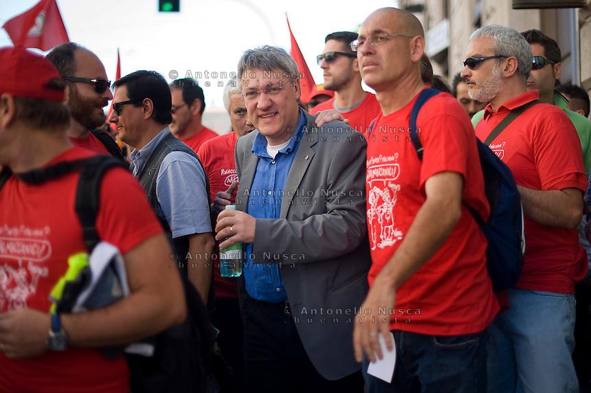 Roma, 18 Maggio 2013. Il segretario della Fiom Maurizio Landini.Secretary of the Fiom trade union Maurizio Landini