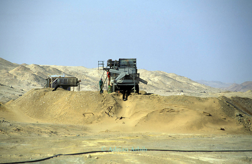 Diamond mining in the Diamond coast region of the Namib Naukluft desert. This area is owned by De Beers and is completely restricted.