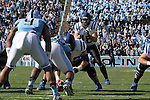 30 November 2013: Duke's Brandon Connette (18) takes a snap. The University of North Carolina Tar Heels played the Duke University Blue Devils at Keenan Memorial Stadium in Chapel Hill, NC in a 2013 NCAA Division I Football game. Duke won the game 27-25.