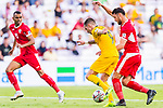 Jamie Maclaren of Australia (C) fights for the ball with Anas Bani-Yaseen of Jordan (R) during the AFC Asian Cup UAE 2019 Group B match between Australia (AUS) and Jordan (JOR) at Hazza Bin Zayed Stadium on 06 January 2019 in Al Ain, United Arab Emirates. Photo by Marcio Rodrigo Machado / Power Sport Images