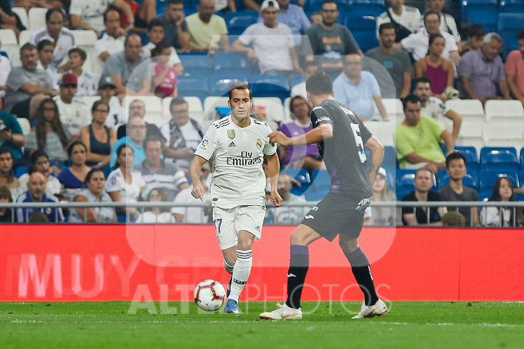 Real Madrid's Lucas Vazquez and CD Leganes's Jonathan Cristian Silva during La Liga match. September 01, 2018. (ALTERPHOTOS/A. Perez Meca)