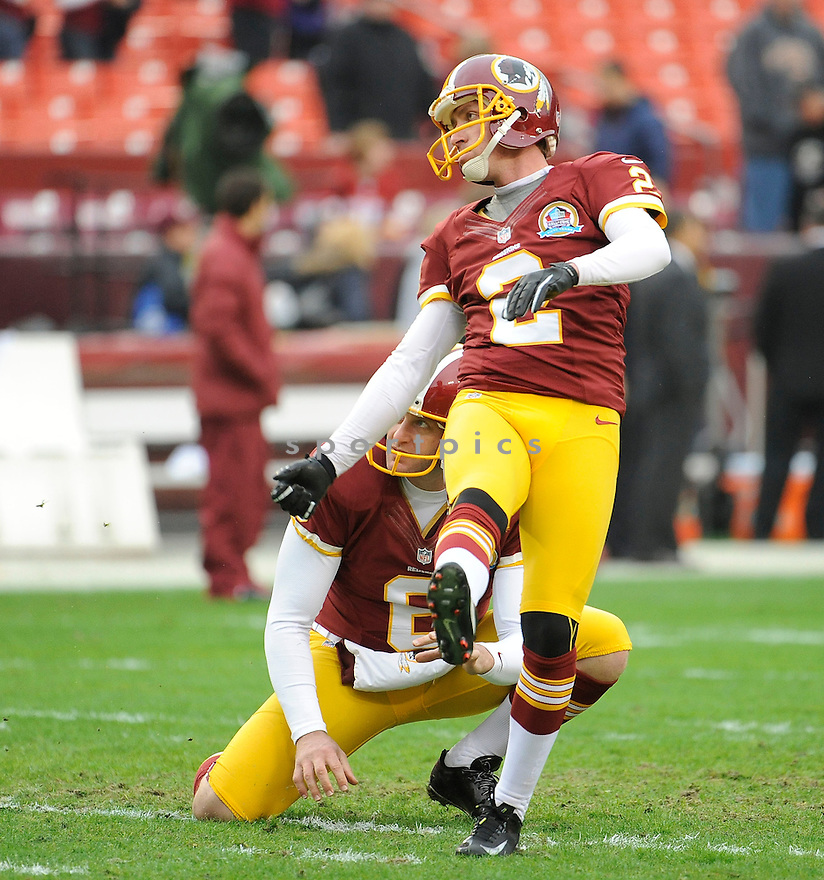Washington Redskins Kai Forbath (2) in action during a game against the Ravens on December 9, 2012 at FedExField in Washington, DC. The Redskins beat the Ravens 31-28.