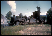 #495 K-37 and #486? K-36 at coaling tower in Chama.<br /> D&amp;RGW  Chama, NM