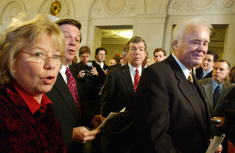 12/8/03.HOUSE GOP CONFERENCE/OMNIBUS APPROPRIATIONS--House Republican Conference Chair Deborah Pryce, R-Ohio, House Majority Leader Tom DeLay, R-Texas, House Majority Whip Roy Blunt, R-Mo., and and House Appropriations Chair C.W. Bill Young, R-Fla., during  a hallway news conference on the omnibus appropriations bill after the House GOP Conference in the Longworth House Office Building..CONGRESSIONAL QUARTERLY PHOTO BY SCOTT J. FERRELL