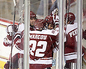 The Minutemen celebrate, but the play was ruled no goal following video review. - The Boston College Eagles defeated the visiting University of Massachusetts-Amherst Minutemen 2-1 in the opening game of their 2012 Hockey East quarterfinal matchup on Friday, March 9, 2012, at Kelley Rink at Conte Forum in Chestnut Hill, Massachusetts.