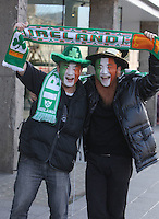 17/03/2011.Kevin Li & James Yang both from Bejing.during the St. Patrick's Day festival in Dublin's City Centre..Photo: Gareth Chaney Collins