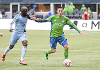 Seattle, WA - March 8, 2014: Seattle Sounders FC defeated Sporting Kansas City 1-0 in their Major League Soccer (MLS) season opener at CenturyLink Field.