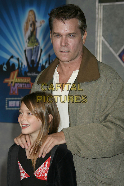 "RAY LIOTTA & daughter Karsen.Disney's """"Hannah Montana & Miley Cyrus: Best Of Both Worlds"" World Premiere held at the El Capitan Theatre, Hollywood, California, .USA,1 7 January 2008..half length father dad .CAP/ADM/RE.©Russ Elliot/AdMedia/Capital Pictures. *** Local Caption *** ."