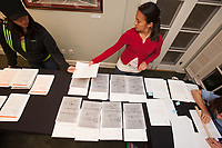 The Collins House Office of Admission staff prepares acceptance letters to be shipped to applicants. Mar. 25, 2009 (Photo by Marc Campos, Occidental College Photographer)