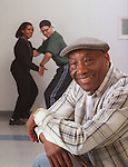 Frankie Manning, Legendary Lindy Hop dancer/choreographer who at 84 is still teaching workshops. 3/20/99. #30166  HOUCHRON CAPTION (03/25/1999): At 84, Frankie Manning, a Lindy Hop dancer/choreographer from the big band era, is still teaching workshops for young dancers, such as the ones in the background.