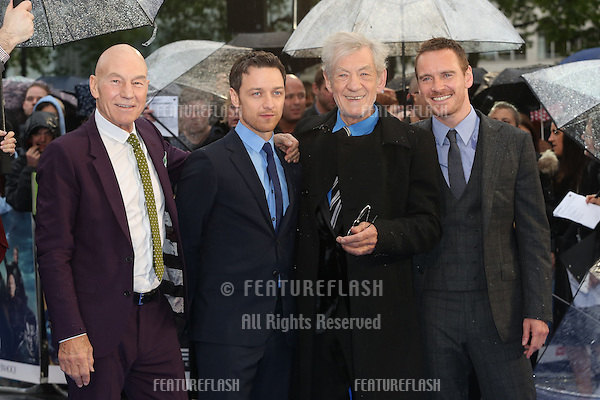 Sir Patrick Stewart, James McAvoy, Sir Ian McKellen, Michael Fassbender at X-Men: Days Of Future Past - UK film premiere<br /> London, England. 12/05/2014 Picture by: Henry Harris / Featureflash