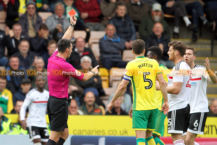 Referee Andrew Madley shows Chris Martin of Fulham a straight red card during Norwich City vs Fulham, Sky Bet EFL Championship Football at Carrow Road on 14th April 2017