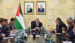 Palestinian Prime Minister Mohammad Ishtayeh, meets with the international Bank, in the West Bank city of Ramallah, on January 15, 2020. Photo by Prime Minister Office