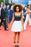 """Stefi Celma poses on the red carpet before the screening of the film """"The Man from U.N.C.L.E."""" during the 41st Deauville American Film Festival on September 11, 2015 in Deauville, France"""
