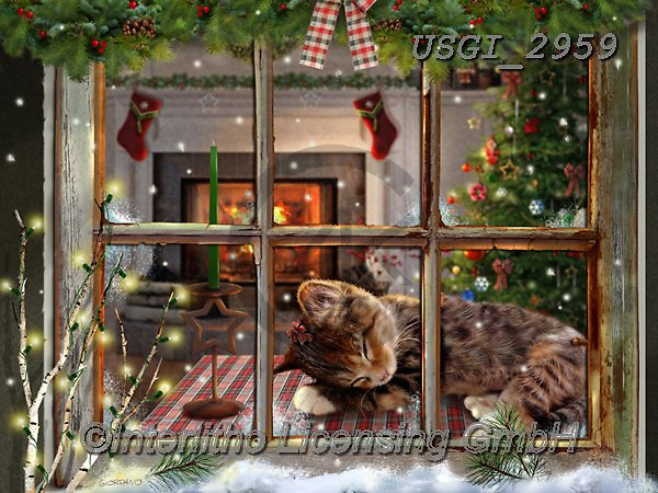 GIORDANO, CHRISTMAS ANIMALS, WEIHNACHTEN TIERE, NAVIDAD ANIMALES, paintings+++++,USGI2959,#xa#