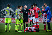 7th December 2017, Rajko Mitic Stadium, Belgrade, Serbia, UEFA Europa League football, Red Star Belgrade versus FC Cologne; The referee gets between the Red star players and FC Koeln players