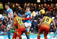 9th February 2020; Stadio San Paolo, Naples, Campania, Italy; Serie A Football, Napoli versus Lecce; Giovanni Di Lorenzo of Napoli wins the clearing header from Rispoli of Lecce