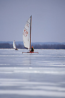 Ice sailing on Lake Pepin Mississippi River near Wisconsin.