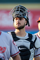 Richmond Flying Squirrels catcher Joey Bart (33) after an Eastern League game against the Erie SeaWolves on August 28, 2019 at UPMC Park in Erie, Pennsylvania.  Richmond defeated Erie 6-4 in the first game of a doubleheader.  (Mike Janes/Four Seam Images)