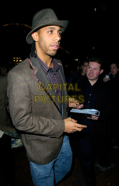 "ANTON FERDINAND.Leaving the ""Rocky Balboa"" Uk Premiere,.Vue West End, London, England,.January 16th 2006..half length hat.CAP/CAN.©Can Nguyen/Capital Pictures"