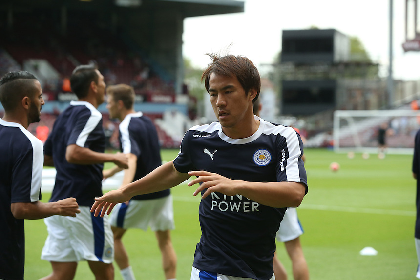 Leicester City's Shinji Okazaki during the pre-match warm-up <br /> <br /> Photographer Kieran Galvin/CameraSport<br /> <br /> Football - Barclays Premiership - West Ham United v Leicester City - Saturday 15th August 2015 - Boleyn Ground - London<br /> <br /> &copy; CameraSport - 43 Linden Ave. Countesthorpe. Leicester. England. LE8 5PG - Tel: +44 (0) 116 277 4147 - admin@camerasport.com - www.camerasport.com
