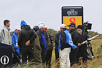 Graeme McDowell (NIR) and Shane Lowry (IRL) on the 8th tee during the preview of the the 148th Open Championship, Portrush golf club, Portrush, Antrim, Northern Ireland. 17/07/2019.<br /> Picture Thos Caffrey / Golffile.ie<br /> <br /> All photo usage must carry mandatory copyright credit (© Golffile | Thos Caffrey)