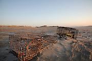 Lobster traps at sunrise on Hampton Beach, New Hampshire USA