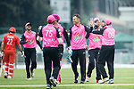 Johan Botha of Hung Hom JD Jaguars (C) celebrates with his team after taking the wicket during the Hong Kong T20 Blitz match between Hung Hom JD Jaguars and HKI United at Tin Kwong Road Recreation Ground on March 09, 2017 in Hong Kong, Hong Kong. Photo by Chris Wong / Power Sport Images