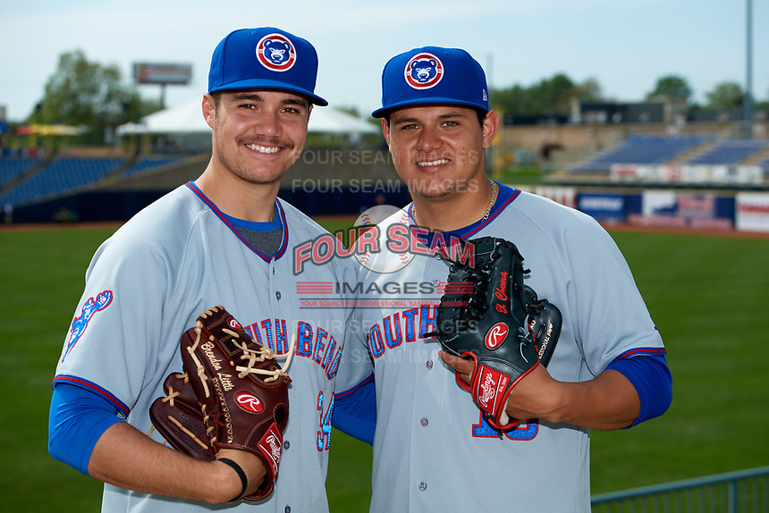 South Bend Cubs pitchers Brendon Little (left) and Jose Albertos (right) pose for a photo before the first game of a doubleheader against the Lake County Captains on May 16, 2018 at Classic Park in Eastlake, Ohio.  South Bend defeated Lake County 6-4 in twelve innings.  (Mike Janes/Four Seam Images)