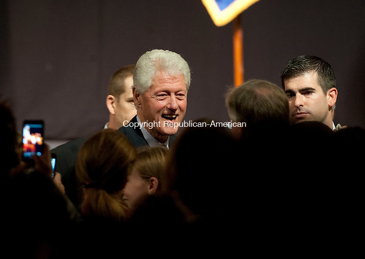 WATERBURY, CT-28 OCTOBER 2012--102812JS11--Former president Bill Clinton talks with audience members following a rally for senate candidate Chris Murphy Sunday at the Palace Theater in Waterbury. .Jim Shannon Republican-American
