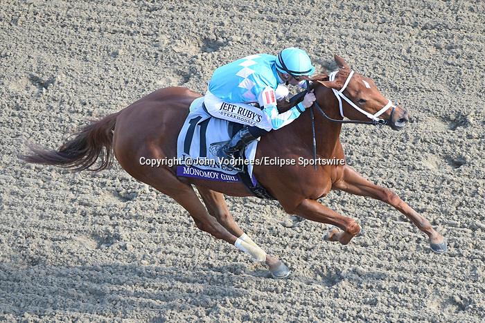 November 3, 2018: Monomoy Girl #11, ridden by Florent Geroux, wins the Longines Breeders' Cup Distaff on Breeders' Cup World Championship Saturday at Churchill Downs on November 3, 2018 in Louisville, Kentucky. John Voorhees/Eclipse Sportswire/CSM