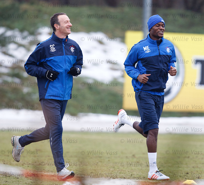 Maurice Edu back in training with physio Stuart Collie