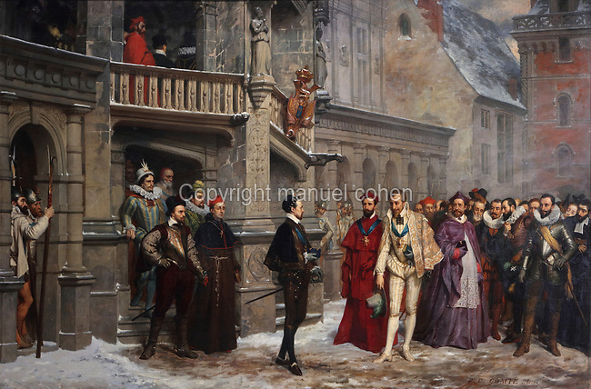 Henri III and the Duc de Guise in Blois in 1588, oil painting on canvas, 1855, by Pierre Charles Comte, 1823-95, in the Salle du Conseil or Council Room, the site of the assassination of the Duc de Guise in 1588, on the second floor of the Francois I wing, built early 16th century in Italian Renaissance style, at the Chateau Royal de Blois, built 13th - 17th century in Blois in the Loire Valley, Loir-et-Cher, Centre, France. The murder is retold in several 19th century paintings hung in the room. The chateau has 564 rooms and 75 staircases and is listed as a historic monument and UNESCO World Heritage Site. Picture by Manuel Cohen