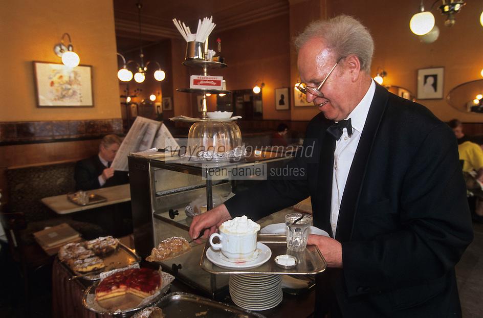 Europe/Autriche/Niederösterreich/Vienne:garçon de café apportant une pâtisserie et un café viennois au  Café Hawelka