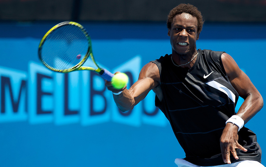 Gael Monfils (FRA) (12) against Matthew Ebden (AUS) in the First Round of the Mens Singles. Monfils beat Ebden 6-4 6-4 6-4 ..International Tennis - Australian Open - Tuesday 19 Jan 2010 - Melbourne Park - Melbourne - Australia ..
