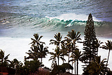USA, Hawaii, Oahu, surfers riding a wave at Waimea Bay with palm trees in foreground, the North Shore