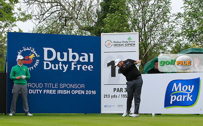 Shane Lowry (IRL) on the 14th tee during Tuesday's Practice round of the Dubai Duty Free Irish Open Trophy at The K Club, Straffan, Co. Kildare<br /> Picture: Golffile | Thos Caffrey<br /> <br /> All photo usage must carry mandatory copyright credit <br /> (&copy; Golffile | Thos Caffrey)
