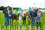 l-r  Raymond Sugrue, Ava Sugrue with Donkey, Forgive and Forget, Caoimhe Sugrue, Mossie Flemming with Donkey, Rockie, Amber Sugrue, Ross Sugrue and Thomas Clifford with Donkey, George at the Donkey derby  at the  Friends of University Hospital Kerry fundraising Night at the Dogs at the Kingdom Greyhound Stadium on Friday