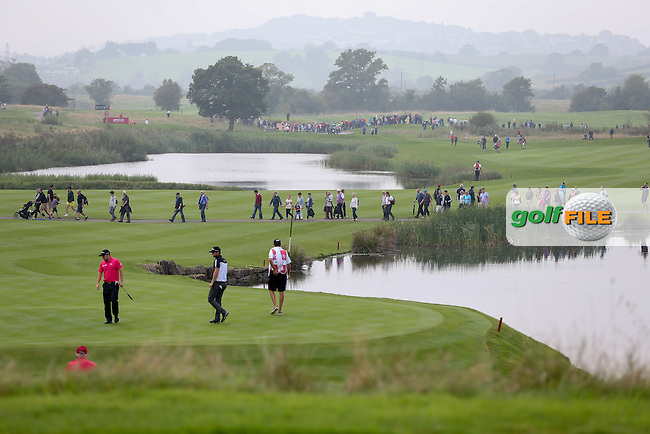 View of the 14th green during Round Three of the ISPS Handa Wales Open 2014 from the Celtic Manor Resort, Newport, South Wales. Picture:  David Lloyd / www.golffile.ie