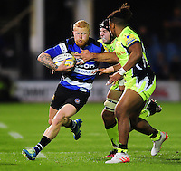 Tom Homer of Bath Rugby takes on the Sale Sharks defence. Aviva Premiership match, between Bath Rugby and Sale Sharks on October 7, 2016 at the Recreation Ground in Bath, England. Photo by: Patrick Khachfe / Onside Images